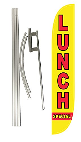 LookOurWay Lunch Special Feather Flag Complete Set with Pole and Ground Spike
