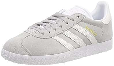 adidas, Gazelle Shoes, Unisex Shoes, Grey/White/White, 5 US Men / 6 US Women