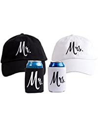 Mr. & Mrs. | Matching Newlywed Wedding Baseball Caps and Beer Holder (Coolie