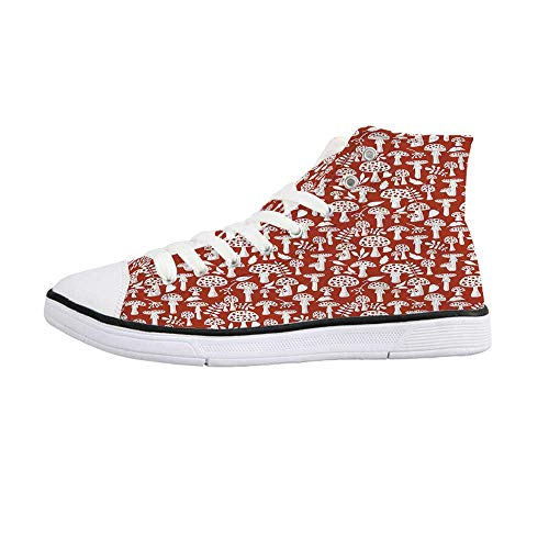 Mushroom Comfortable High Top Canvas ShoesCute Amanita Pattern with Leaves Berries Poisonous Plants Cartoon Style Decorative for Women Girls,US 5