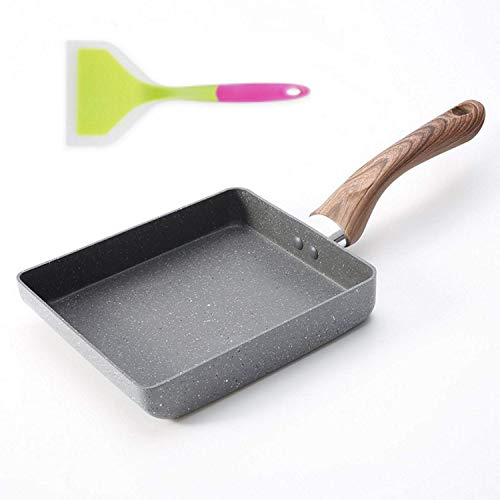 Ego Auxiliatus Tamagoyaki Japanese Omelette Pan. Small Egg Frying Omlette Pan. Omelet Pan with Silicone Spatula Bundle.