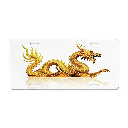- Kingsinoutdoor Ancient China Decorations,Statue of Legendary Dragon Fantasy Figure Cultural Art,Gold Yellow White Customizable Aluminum Metal License Plate Cover for Auto Cars Women/Men, 12 x 6 Inch