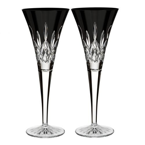 Waterford Lismore Black Set of 2 Flutes by Waterford