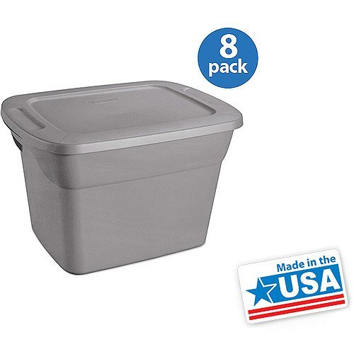 (Sterilite 18 Gal Tote Box, Steel 8 pcs)