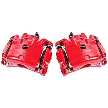 CCK01545 2 FRONT Performance Grade Red Powder Coated Semi-Loaded Remanufactured Caliper Assembly Pair Set