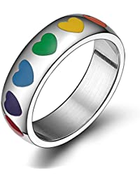 Titanium Stainless Steel Rubber Heart Rainbow Ring Gay and Lesbian LGBT Pride Wedding Band Jewelry