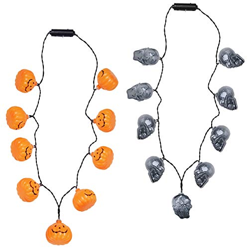 Outgeek Halloween Necklaces LED Necklaces 2 Pack Pumpkin Skull Light Party Supplies with 3 Different Flicker Modes Party