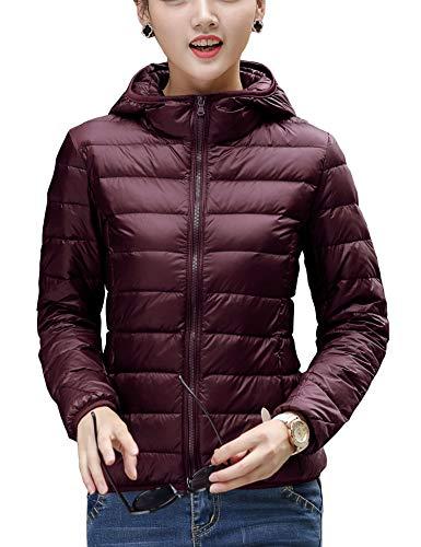 CHERRY CHICK Women's Light Weight Down Jacket with Hood (M, Wine -