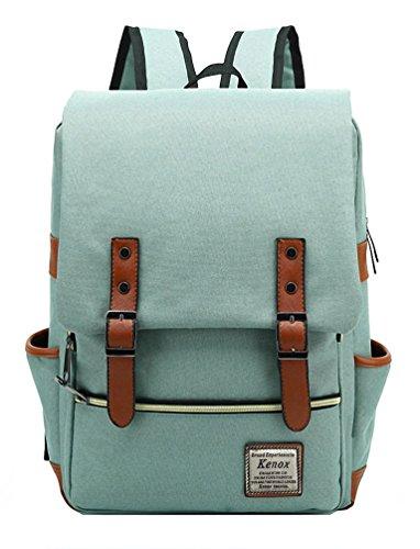 Kenox Vintage Laptop Backpack College Backpack School Bag Fits 15-inch Laptop (Green2) (For Women Backpack College)