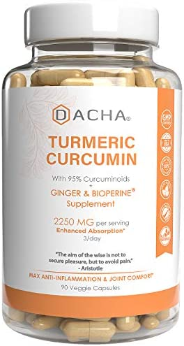 DACHA Tumeric Curcumin Supplement – 2250mg Joint Support Supplements Turmeric with Black Pepper Bioperine Ginger 95 Curcuminoids Anti Inflammatory Capsules Antioxidant Back Pain Relief