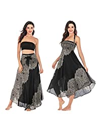 AllaSim Womens 2 in 1 Bohemian Maxi Skirt Halter Floral Beach Dress