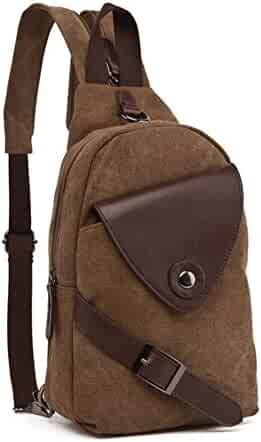 DRF Canvas Sling Bag Chest Crossbody Bag Vintage Fit iPad BG-01 (Brown) cc7a9c6a0a47b