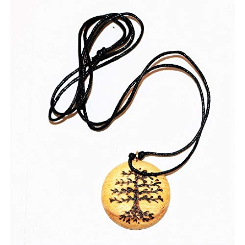 aromatic palo santo wood tree of the life pendant neklace hand-carved