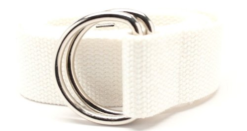 Deal Fashionista D Ring Webbed Cotton Canvas Belt S White 38