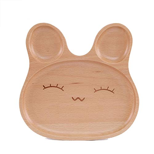 VT BigHome Cute Dishes Fashion Wooden Plate Compartment Trays Wood Serving Tray Rabbit Pattern Platter s Snacks Dessert -