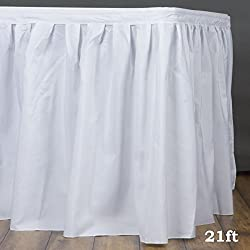 LinenTablecloth 21 ft. Accordion Pleat Polyester Table Skirt White