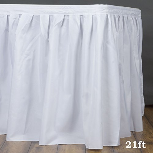 - Efavormart 21ft White Accordion Pleat Polyester Table Skirt for Kitchen Dining Catering Wedding Birthday Party Decorations Events