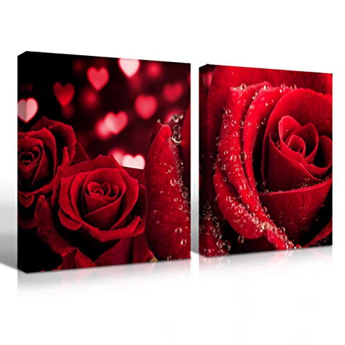 Mon Art Red Rose Canvas Print Wall Art Water Drop on Flower Picture for Girls Living Room Bedroom Romantic Pure Love Artwork Modern Decorative Wall Decoration Home Decor Framed,16