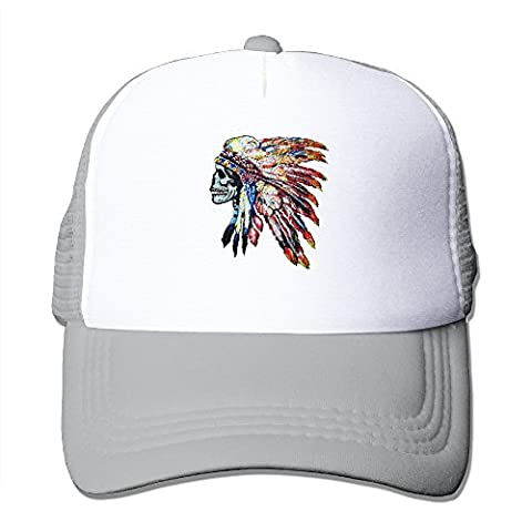 Colorful Chief Headdress Hats Snapback Mesh Cap Adjustable Baseball Caps Unisex Trucker Hat Ash (Chief Head Snapback)