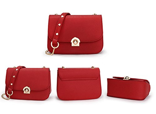 Purse Black Handbag Gold JeHouze Metal Strap Leather Chain Women Crossbody Fashion Genuine T1PP7wvq