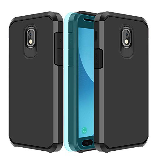 Samsung Galaxy J3V 3rd Gen,J3 2018,J3 Star,Amp Prime 3, J3 Express Prime,J3V 2018 Case,with HD Screen Protector Slinco Dual Layer Shock Proof Protective Rugged Galaxy J3 Achieve Case(Black)
