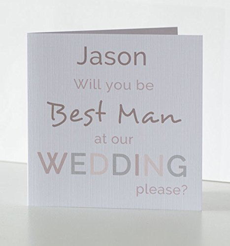 will you be my best man card personalised wedding party card will