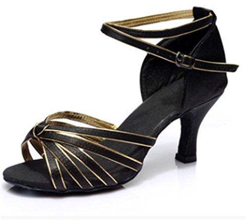 YOGLY Zapatos de Baile Latino de Mujer de Salón Tacon Medio/Bajo Zapatila de Baile Adulta con Suela Blanda Zapatos de Danza Salsa Tango Negro C