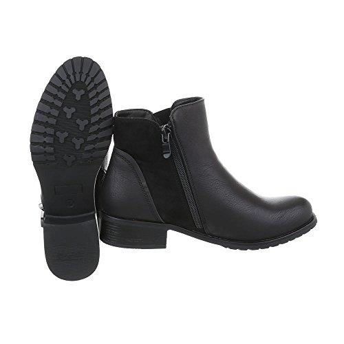 Ital-Design Klassische Stiefeletten Damenschuhe Klassische Stiefeletten Blockabsatz Blockabsatz Reißverschluss Stiefeletten Schwarz