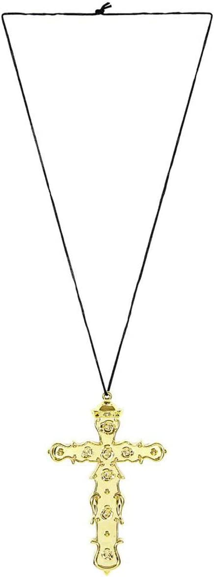 labreeze Gold Metallic Monk Cross Necklace Pope Halloween Fancy Dress Accessory