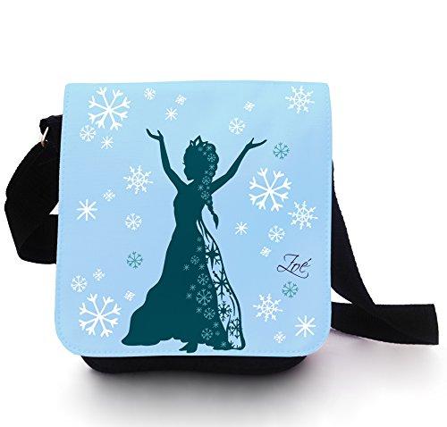 Tasche Kindertasche Handtasche Schultertasche Schultasche Schneekönigin Prinzessin Schnee Eis mit Wunschname in lichtblau kt105
