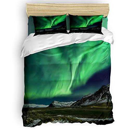 Yogaly Home Bedding Set 4 Pieces Full Size for Adults/Teens/Children/Baby Green Aurora and Glacier Printed Bed Sheets, Duvet Cover, Flat Sheet, Pillow Covers