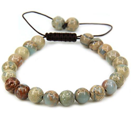 Amandastone Natural Serpentine Gemstone 8mm Round Beads Adjustable Braided Macrame Tassels Chakra Reiki Bracelets 7-9 inch Unisex