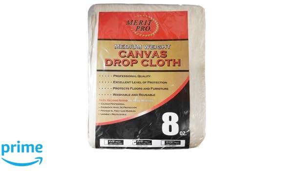 merit pro 8 oz medium weight canvas drop cloth 9u0027 x 12u0027 paint drop cloths amazoncom