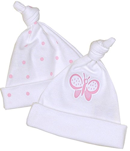 BabyPrem Preemie Baby Pack of 2 Knotted Hats Girls Pink 1.5-7.5lb PINK SPOT P2 (Sleeper Cap)