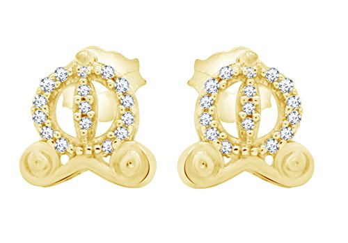 Round Cut White Diamond Cinderella Carriage Stud Earrings In 14K Yellow Gold Over Sterling Silver