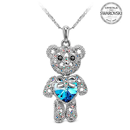 Thanksgiving Day Gifts for Her Girls Blue Teddy Bear Swarovski Crystal Pendant Necklace