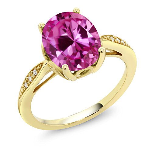 14K Yellow Gold 3.29 Ct Oval Pink Created Sapphire and Diamond Ring