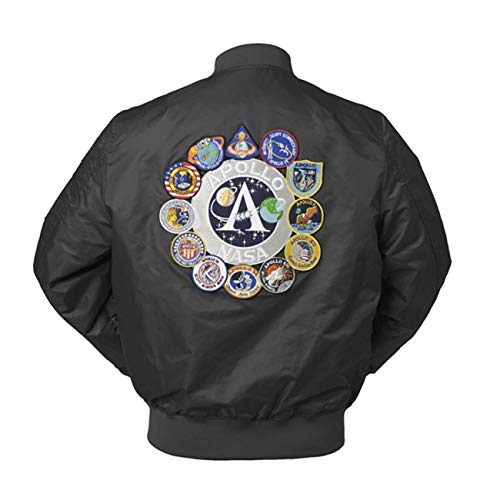 CORIRESHA Mens Apollo Space Embroidered Patches Slim Fit Bomber Jackets Windbreaker Black