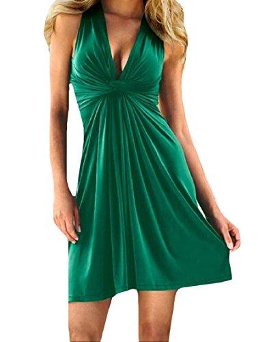 Pantaloni Vita Solido Senza donne Coolred Passo A Abiti Croce Maniche Verdi Bassa Indietro Cravatta Tunica xRwStnZq