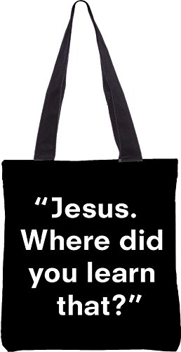 Snoogg JESUS ??Wo haben Sie erfahren, dass 13,5 x 15 Zoll-Shopping-Dienstprogramm-Einkaufstasche aus Polyester-Segeltuch gemacht