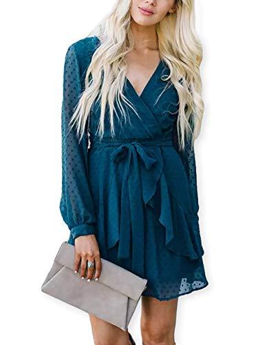AOOKSMERY Women Cute V Neck Long Sleeve Mini Dresses Solid Polka Dot Swing Dress with Belt Acid Blue