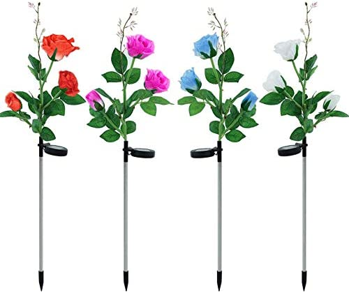 Lomotech Solar Flower Lights, 4 Pack Multi-Color Changing Solar Rose Flower Lights Waterproof Solar Rose Garden Decorative Stake Lights for Outdoor, Patio, Yard, Walkway