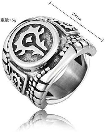 ZMlWToer Steel Retro Homme Inoxydable World of Warcraft Symbole Anneaux