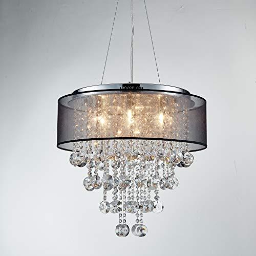 Saint Mossi Chrome Modern K9 Crystal Chandelier Lighting LED Ceiling Light Fixture Pendant Lamp for Dining Room Bathroom Bedroom Livingroom 7G9 Bulbs Required H19