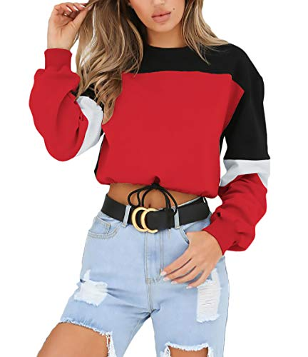Mode Bandage Tops Automne Longues Élégant Rond Sweat Hiver Pull Cordon Crop Rouge Manches Femme Vintage Casual Col Fq60Innw