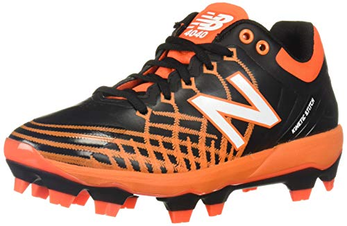 New Balance Men's 4040v5 Molded Baseball Shoe, Black/Orange, 11.5 2E US