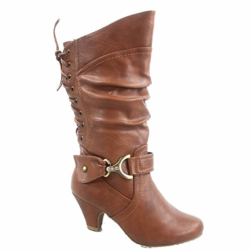 Page-65k Page-65k Girl's Youth Fashion Round Toe Low Heel Slouch Back Lace Zipper Boots Shoes(4, Tan)