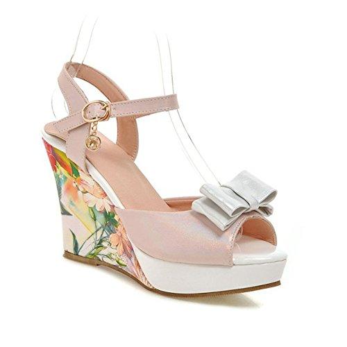 Easemax Womens Elegante Stampa Floreale Peep Toe Tacco Alto Piattaforma Cinturino Fibbia Alla Caviglia Sandali Con Zeppa Archi Rosa