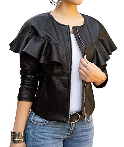 lovecarnation Women Sexy Short Coat Jacket Zip Up Long Sleeves Ruffle Faux Leather PU Jacket Black L