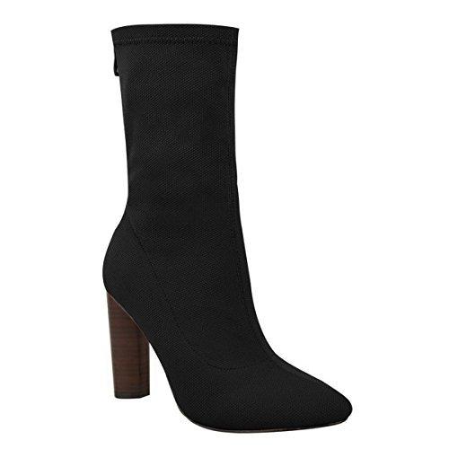 Mujer Nuevo De Punto Elástico Botines Tacón Alto En Bloque Estilo Celebrity Zapatos Talla - Gris De Punto / Forma De Pera Efecto Madera Tacón, 8 UK